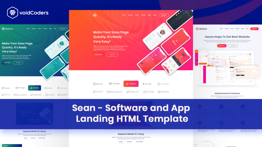 software and app landing html